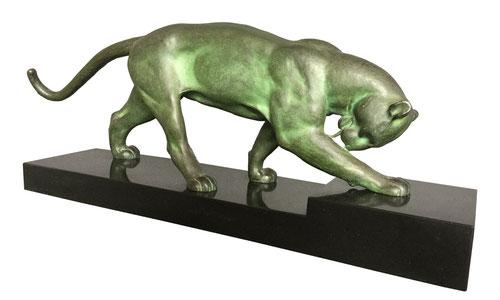 Art Deco Panther-Skulptur, Bronze signiert Alexandre OULINE