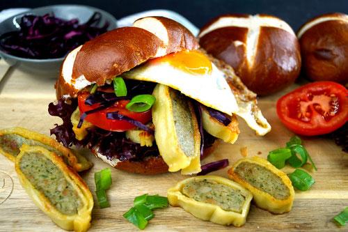 Sandwich auf Schwäbisch: Laugenweckle mit Maultaschen