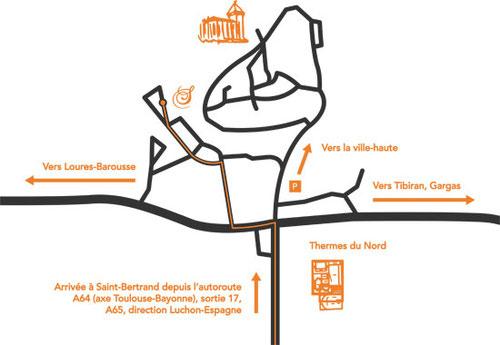 Cette image représente le plan d'accès pour les Sabots d'Isa à Saint-Bertrand-de-Comminges Ville Basse, atelier de création de sabots cuir-bois sur mesure et de chaussures artisanales