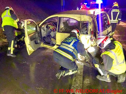 Feuerwehr; Blaulicht; FF Wiener Neudorf; Unfall; A2; PKW; Hund;