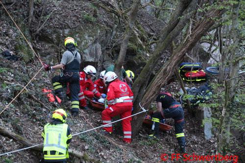 Feuerwehr, Blaulicht, Übung, Schwertberg, Personenrettung aus steilen Gelände