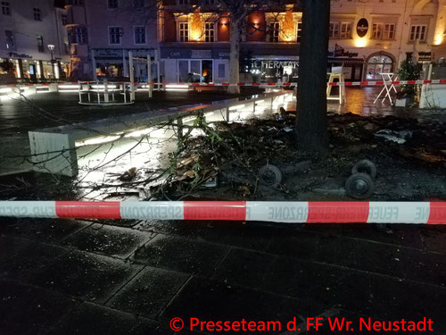 Feuerwehr; Blaulicht; FF Wiener Neustadt; Brand; Sperrmüll; Hauptplatz;