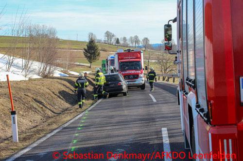 Feuerwehr, Blaulicht, Unfall, Kollision, PKW, B38, Schenkenfelden, AFKDO Leonfelden, Urfahr-Umgebung