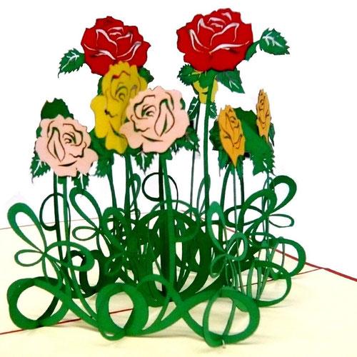 3D Pop-Up Karten mit Rosenmotiv von Prona