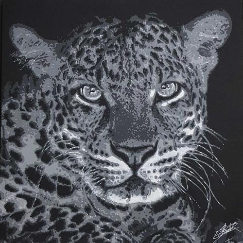 Peinture contemporaine par le peintre erik black représentant la tête de lion - acrylique sur toile