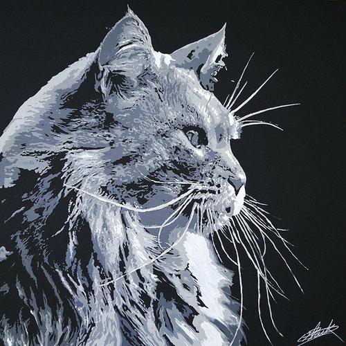 Peinture contemporaine par le peintre erik black représentant une tête de chat - acrylique sur toile
