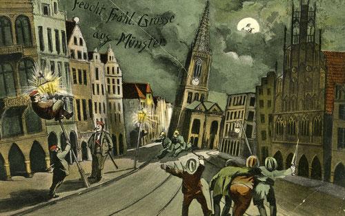 Zeitgenössige Postkarte anlässlich des Bierkrieges