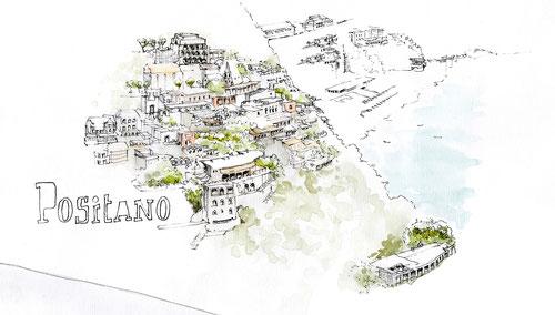 Illustration Positano côte Amalfitaine vue de l'hôtel Le Agavi Blog Voyage Italie Marcellooo.fr
