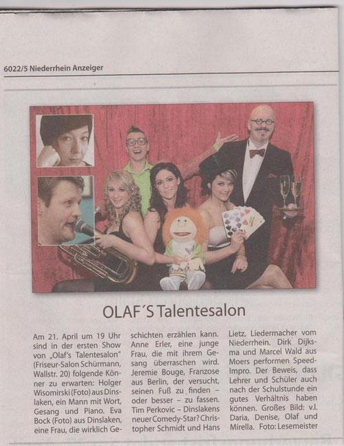 Konzerthinweis, Niederrheinanzeiger, 18.04.12