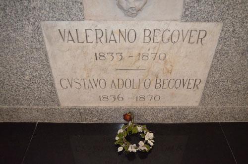 Lugar donde descansan los restos mortales de los hermanos Bécquer. © Lupe Rangel.