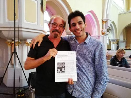 Aeham Ahmad und der Wiesbadener Autor Andreas Lukas