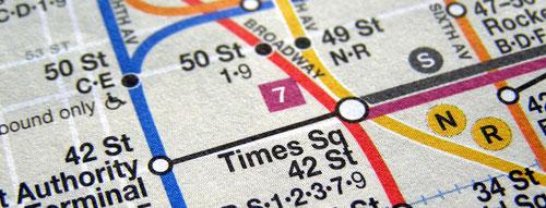 Coaching bei cbtc. Foto zeigt einen Ausschnitt aus dem Plan der New Yorker U-Bahn. Die vielen Linien wirken auf den ersten Blick unübersichtlich. Coaching soll Ihnen einen Überblick verschaffen.