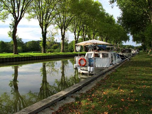 im Lichte des späten Nachmittags spiegeln sich die Bäume im Canal du Nivernais