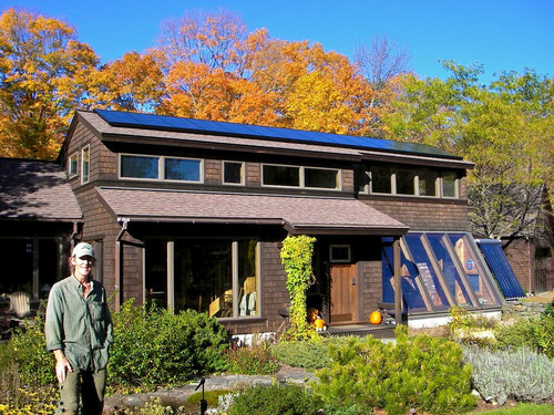 The passive solar home at Distant Hill Gardens.