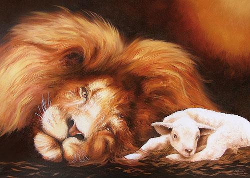 Löwe & Lamm - Öl-Gemälde - Biblische Botschaft