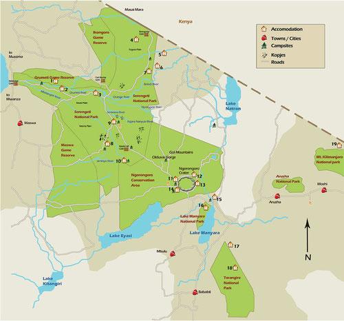 Serengeti- und Ngorongorokarte