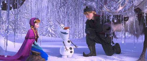 Anna la princesse, Olaf le bonhomme de neige, Kristoff le bûcheron et Sven le renne des neiges (©The Walt Disney Company)
