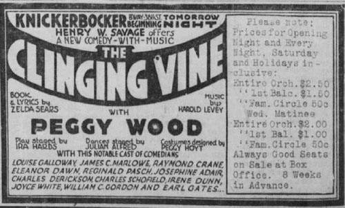 "ad for ""The Clinging Vine"""
