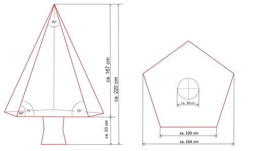 Außenmaße und Grundriss des Solarbaumes SB-500/30°