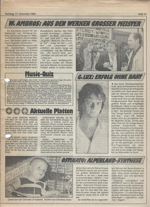 Hansi Georg Lang AKA John Lane - Krone Music Quiz 17.12.1983
