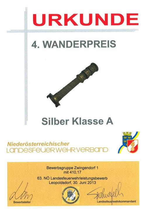 Urkunde 4. Wanderpreis (Strahlrohr), Silber A