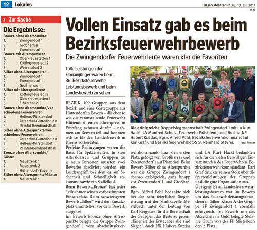 Zeitungsartikel Bezirksblatt-Mistelbach (Woche 28)