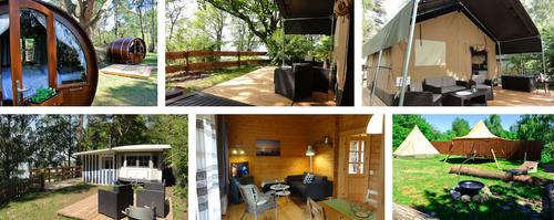 Schlaffass-Dorf auf Naturcamping ZWEI SEEN: 6 außergewöhnliche Unterkünfte für jeweils 2 Personen (1 Doppel- oder 2x Einzelbett) |