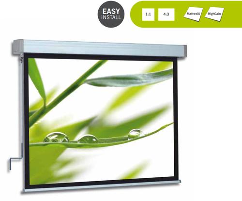 Kurbelbedienbare Projektionswand, automatischer Anschlag beim Ein- und Auslauf des Projektionstuches