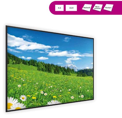 Frame Maxi, hochwertige Rahmenbildwand mit schwarzem Rahmen aus Aluminiumprofilen