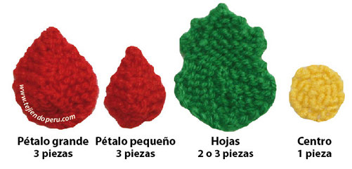 Cómo tejer una flor de Navidad o Poinsettia en dos agujas o palitos