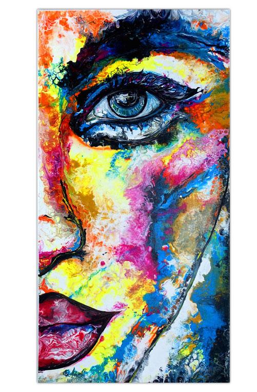 Abstraktes Porträt Gesicht Malerei Acrylgemälde Fluid Art Unikat 150x100