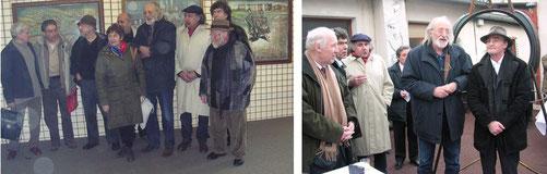 Les artistes présents au vernissage autour de Pierre Souchaud.           Pierre Souchaud (Centre) avec Yves segaud