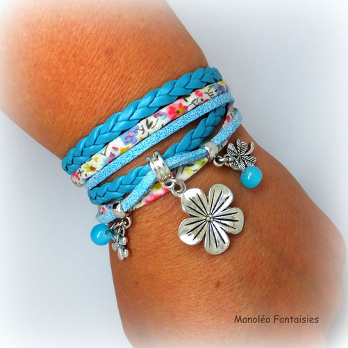 FLORA -bracelet fleur, bracelet manchette, bracelet deux tours, bracelet fleur, bracelet turquoise, bracelet fait main