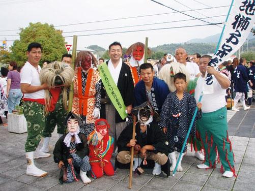 平成20年の文化の森統一練でも、旧市内各町に伝わる獅子舞の競演も行われた。
