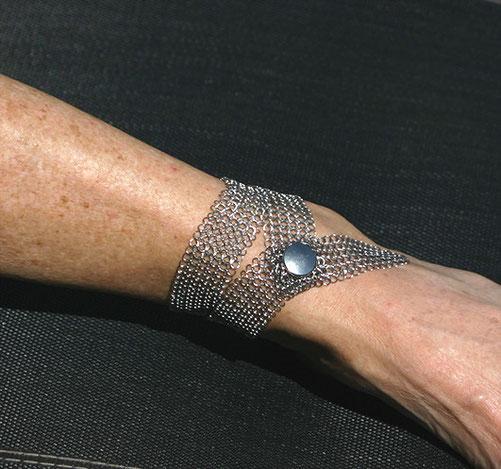 Bracelet de cheville de créateur chic en cotte de mailles inox