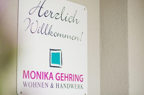 Wandschild, Eingangsschild, Begrüßungsschild  oder Aludibond designed bei Jennifer horn für die Kundin Monika Gehring