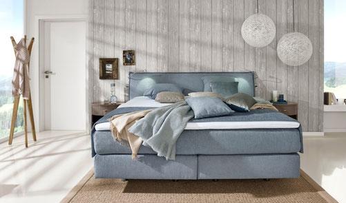 Schlafzimmer Schlafzimmermöbel Schlafen Bett Boxspring Boxspringbett Nachttisch