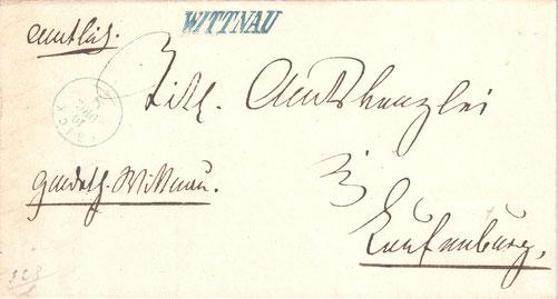 """Eine der frühesten Verwendungen des Stabstempels """"WITTNAU"""". Ein Brief, abgestempelt am 10. Dezember 1854. Die blaue Stempelfarbe ist nicht sehr häufig."""