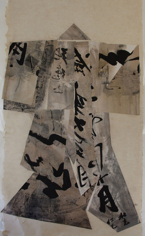 paper kimono 2012    collage     ink, broux de noix,  hemp and rice paper    110 x 200 cm