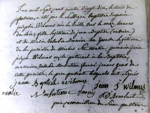 Archives de l'Etat de Belgique (Mons), paroisse de Bray, registre des baptêmes