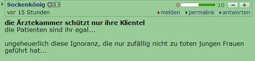 http://derstandard.at/1373512271431/Mehrere-Patientinnen-verletzt-Wiener-Aerztin-bot-Billig-Abtreibungen-an?seite=2#forumstart