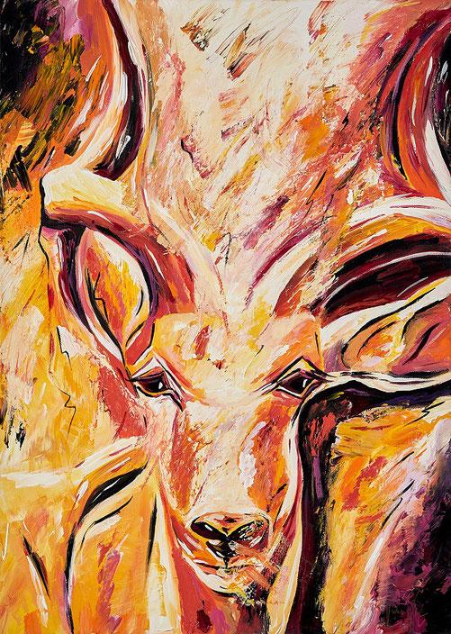 Moderne Malerei, handgemalt, Tiere, Schönheit, Wild Life, Afrika, Acryl, Gegenständlich