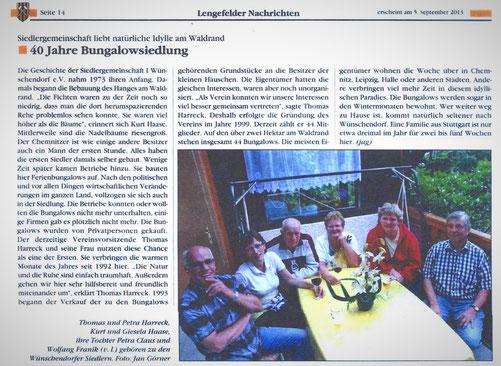 Bild: Teichler Wünschendorf Erzgebirge Siedlergemeinschaft