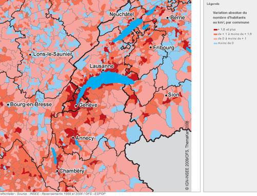 Variation annuelle de la densité de population entre 1999 et 2006
