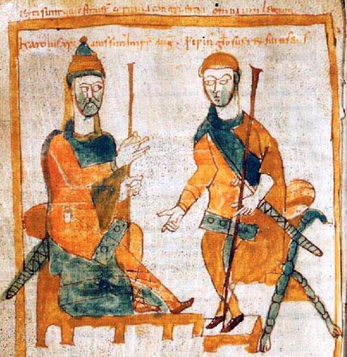 Karl der Große sitzt auf einem Thron?, vor ihm steht sein Sohn König Pippin von Italien, Liber legum