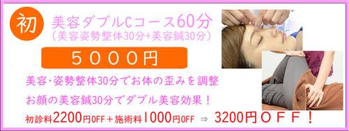 美容ダブルBコース60分クーポン (美容・姿勢整体+美容鍼30分)