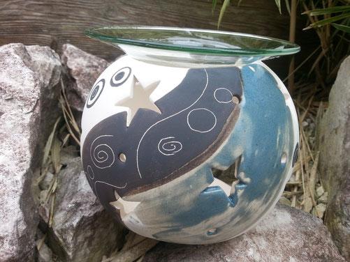 wunderschönes Windlicht mit Glasschale für Duftöl 32,-