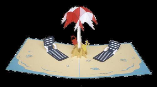 Carte pop-up à la plage - carte bonnes vacances d'été