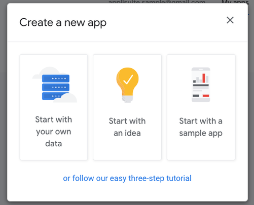 「Start with your own data」をクリックする。