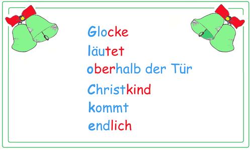 Beispieltext Akrostichon Weihnachten, weihnachtiche Begriffe, weihnachtswörter, Wortschatz aufbauen Übungen